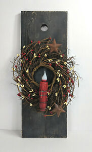 Primitive Red And Cream Pip Berry Wreath Candle Board Taper Holder W Candle