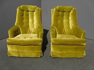 Pair Mid Century Modern Lime Green Tufted Velvet Swivel Chairs Hollywood Regency
