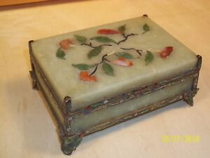 Chinese Jade Stone Cinnabar With Cloisonne Top Painted Guilded Frame