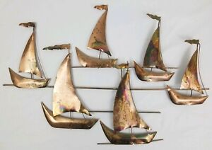 Vintage Copper Brass Sailboat Wall Sculpture Boat C Jere Style Mid Century