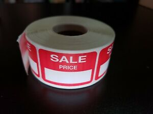 500 Self adhesive Sale Price Rectangular Retail Labels Sticker Merch Tag Red