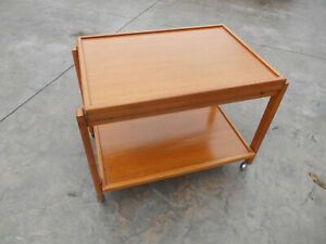 Rare Vintage Mid Century Danish Modern Flip Top Teak Serving Cart Table