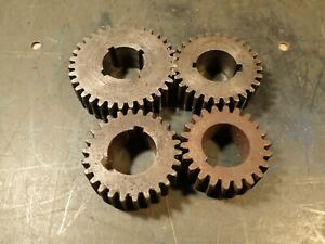 4 piece Lot Lathe Change Gears 1 1 8 Keyed Bore 7 8 Thick 22 26 28 34 Tooth