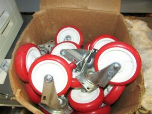 Lot Of 22 New 5 Red Rubber Casters Full Swivel