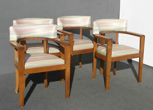Set Four Designer Mid Century Danish Modern Leather Chairs Wormley Dunbar Style