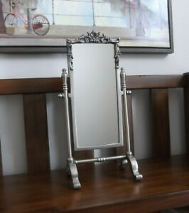 Vintage Style Pewter Rectangle Vanity Tabletop Stand Mirror 16 Tall
