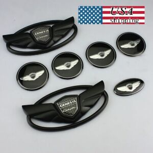 Usa Sale Set 7pcs For Hyundai Genesis Coupe Black Chrome Wing Logo Emblem