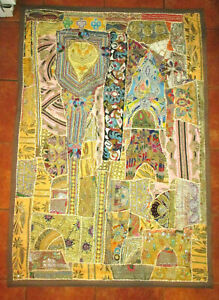 Vintage Asian India Patchwork Gustav Klimt Style Embroidered Tapestry 40 X 60