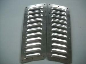 Tilted Pair Of 11 4 Louvered Panels Hood Louvers Bolt on Style Vent Kit Jeep