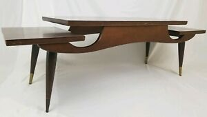 Mid Century Modern 2 Tier Coffee Table Sculptural Walnut Wood Retro Vintage