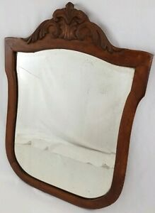 Vintage Carved Walnut Beveled Shield Wall Mirror Victorian Renaissance 37
