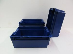 Plastic Storage Bins 13 X 10 5 X 5 5 Lot Of 4 Blue