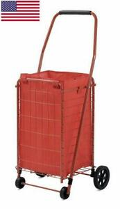 Folding Shopping Cart Rolling Storage Grocery Laundry Basket Plastic 66 Lbs Red