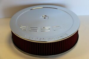 Sbc 350 High Performance Logo Chrome 14 X 4 Round Red Washable Air Cleaner Sbc