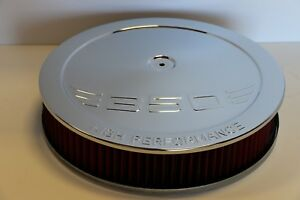 Sbc 350 High Performance Logo Chrome 14 X 3 Round Red Washable Air Cleaner Sbc