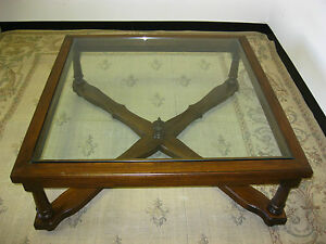 Vintage Over Sized French Country Cottage Wood Glass Coffee Table Finial