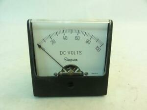 165758 Old stock Simpson 9610 Panel Meter 0 100dcv Size 2 22