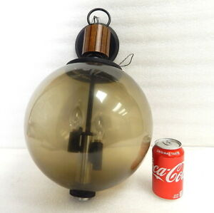 Lightcraft Mid Century Sputnick Wall Hanging Smoke Globe Swag Lamp Light W Teak
