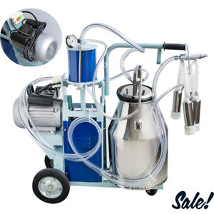 Electric Milking Machine For Cows W bucket 12 Cows hour Milker Stainless Steel