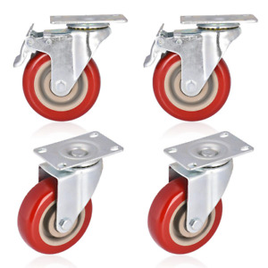 Moogiitools 4 Swivel Rubber Caster Wheels With Safety Dual Locking Heavy Duty 4