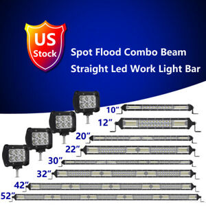 4 10 12 20 22 30 32 42 52 Inch Led Light Bar Offroad Ute Pods Lamps 4wd