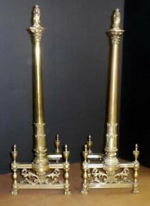 Vtg Early 1900 S Solid Brass Andirons Ornate Design Brass Firedogs Architectural