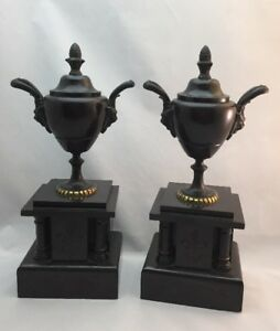 Pair Antique Patinated Bronze Garniture Urns Black Slate Bases Grecian 1870