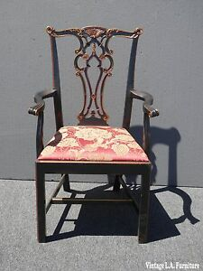 Vintage Black Chippendale Chinorserie Carved Accent Chair W Crackle Finish