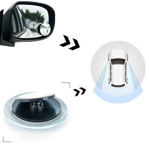 2pcs Blind Spot Mirror Rimless Glass Wide Angle 360 Convex Rear View Adjustable