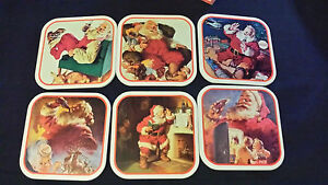 Coca-Cola Coasters Set of 6 Assorted Santa Christmas 1990 Coke