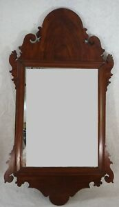 American 18thc Chippendale Mirror Carved Mahogany Frame C 1780 S 34 X18