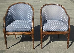 Pair Of Vintage Mid Century Faux Bamboo Wood Cane Round Back Club Blue Chairs