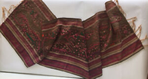 Antique Indonesia Or Laos Embroidered Textile Shawl Kim Cuong Hong