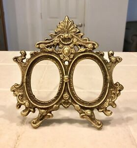 Antique Vintage Victorian Solid Brass Ornate Double Picture Frame 7 X 6 3 4