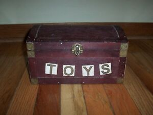 Old Vintage Wooden Toy Chest Labeled Toys Approx 9 7 8 X 6 3 4 X 5 3 4