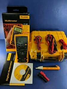 New Fluke 77iv Multimeter Original Box Extra Accessories Hard Case
