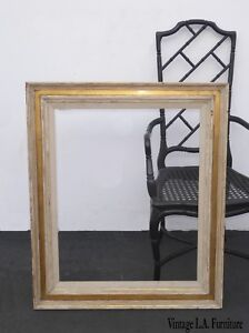 Vintage White French Shabby Chic Rustic Picture Frame W Gold Trim