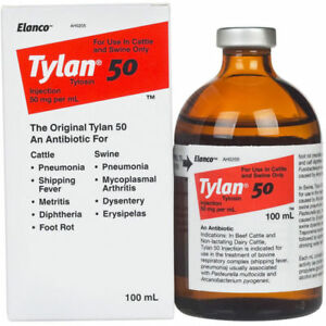Tylan 50 100ml Beef Cattle Dairy Cattle Swine Injectable exp 09 19