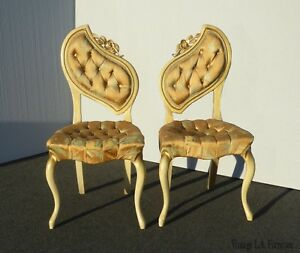 Pair Vintage French Provincial Heart Shaped Style Accent Chairs As Is