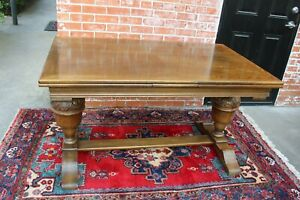 Antique English Renaissance Oak Wood Draw Leaf Table Dining Room Furniture