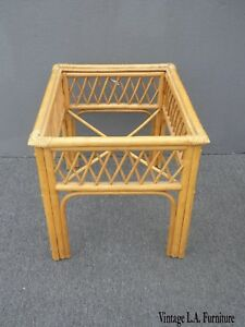 Vintage Tiki Palm Beach Bamboo Rattan Bamboo End Table As Is