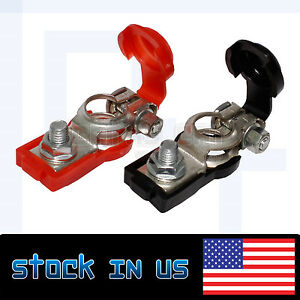 Autos 2pcs Black 2pcs Red Battery Terminal Clamps With Plastic Protection Cover