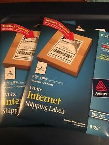 Avery Permanent Inkjet Shipping Labels 2 Pack Internet 8126 5 1 2 X 8 1