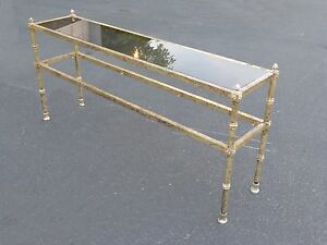 Vintage Long Hollywood Regency Style Gold Gilt Smoked Glass Sofa Console Table