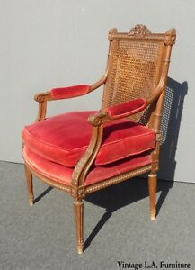 Vintage Carved Mahogany Cane Red Velvet Goose Down Chair Louis Bulloni Son