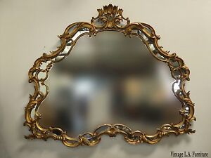 Large 63 W Vintage French Louis Xvi Rococo Gold Wall Mantle Mirror Made In Italy