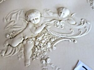 Victorian Tri Fold Mirror Celluloid Cover W Cherubs Flowers Dated 1888