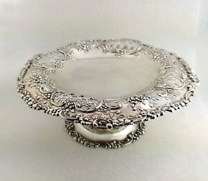 Tiffany Co Compote Antique Sterling Silver 925 Stand 7in Diam Top Dish