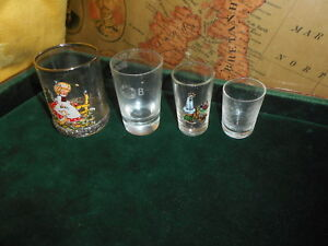 Set Of 4 Smalls Glass Tumblers Made In Portugal