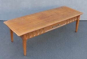 Vintage Danish Mid Century Modern Style Long One Drawer Coffee Table